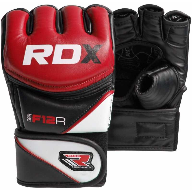 Fitness Gloves Argos: MMA Leather-X Training Grappling Gloves (Red)
