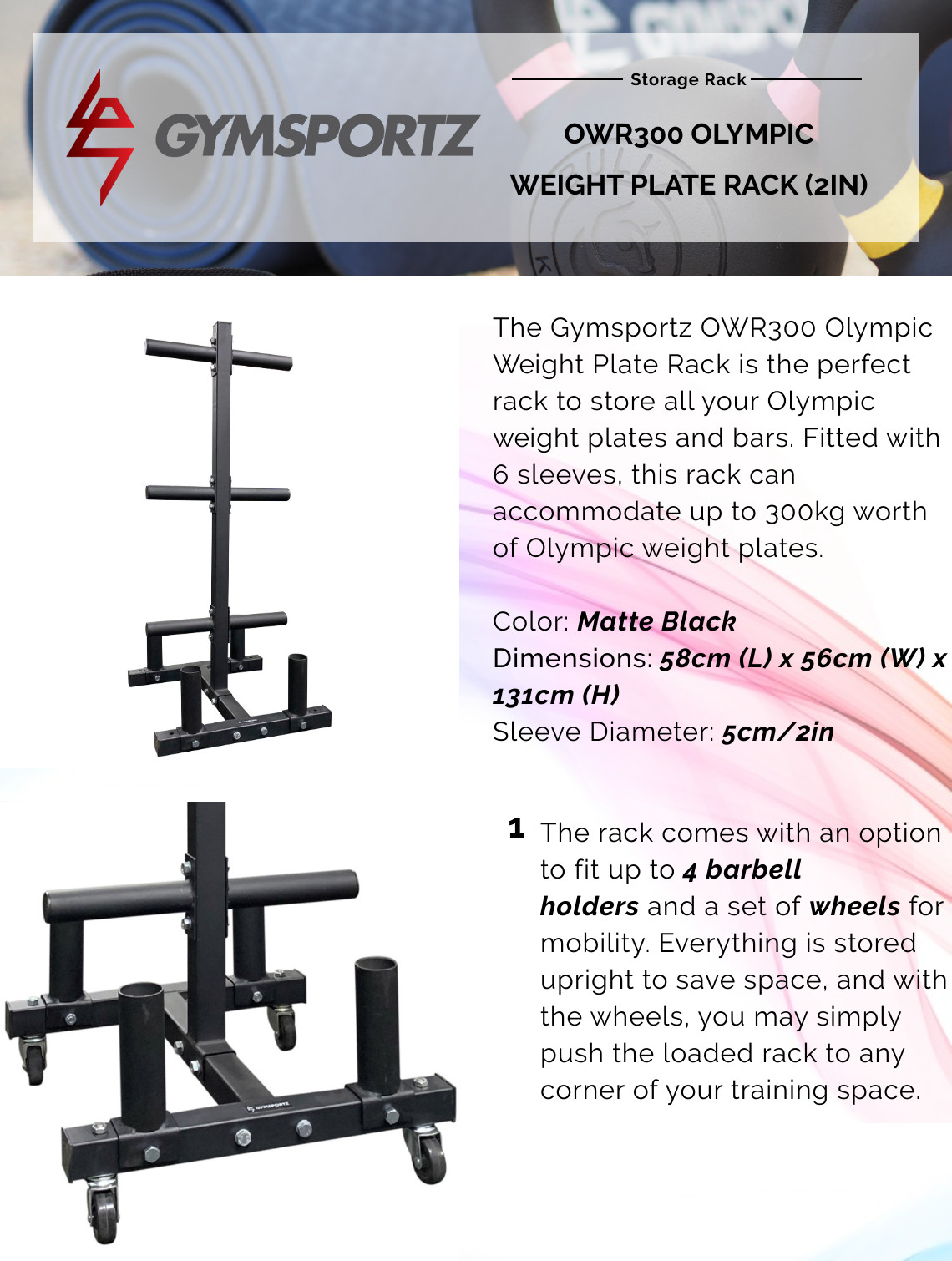 Owr300 Olympic Weight Plate Rack 2in Gymsportz Pte Ltd